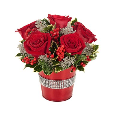 Holiday Rose & Glitter Bouquet from Ingallina's Gifts